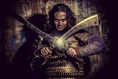 Ancient male warrior in armor holding sword. Historical character. Fantasy. poster