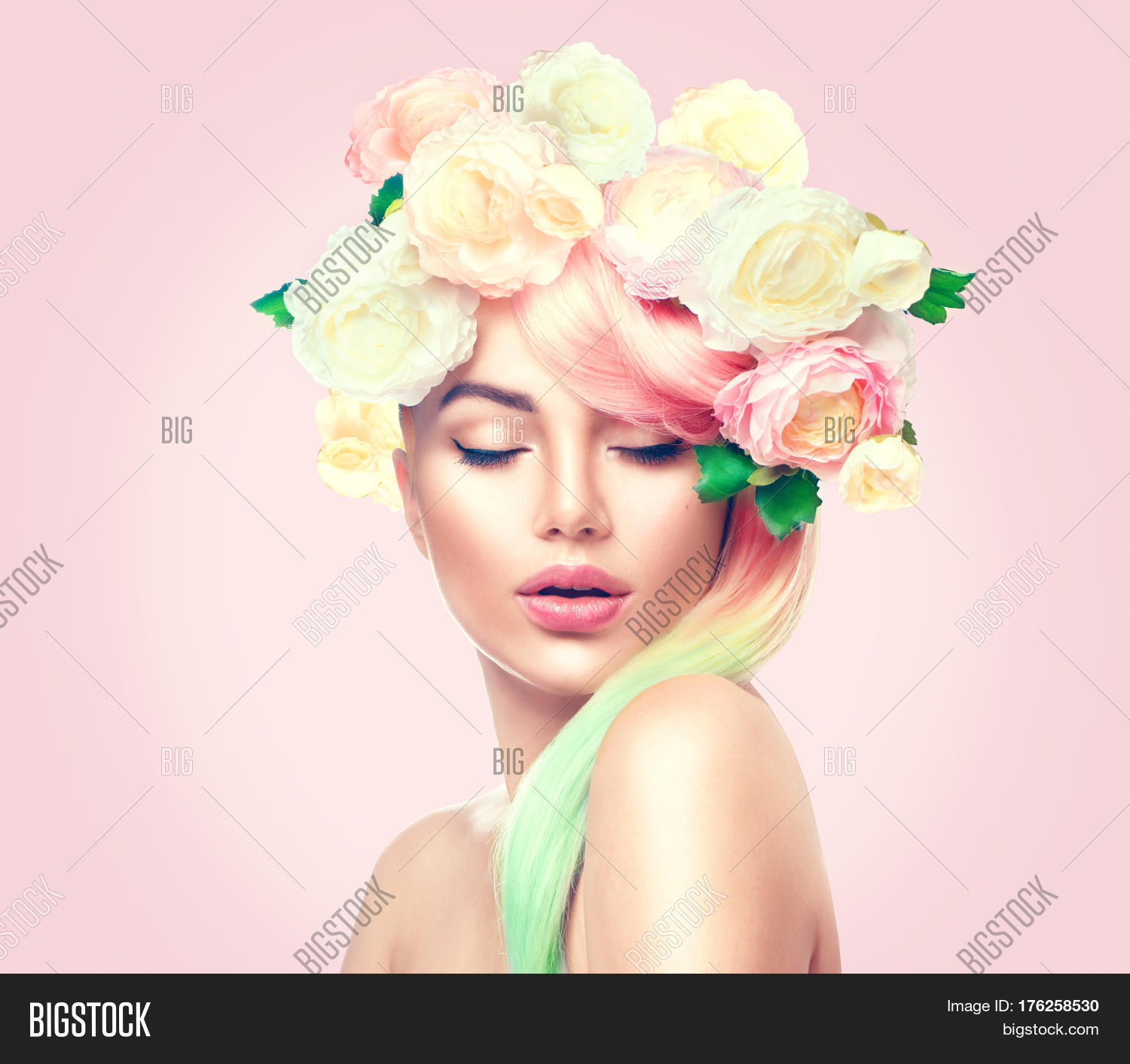 Spring woman beauty image photo free trial bigstock beauty summer model girl with colorful flowers wreath and colorful hair flowers izmirmasajfo
