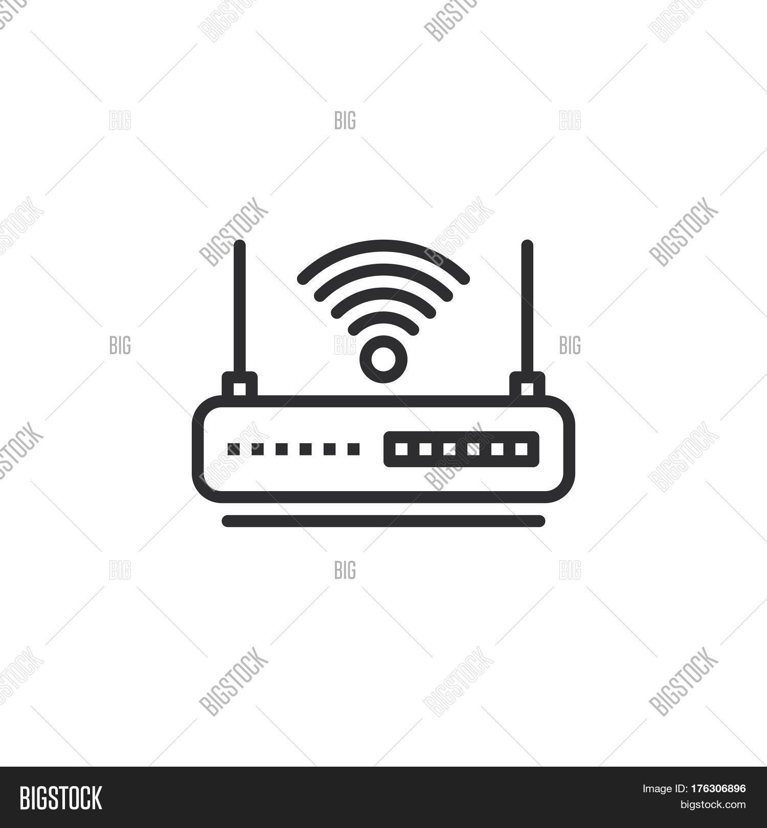 Wifi Router Line Icon Vector Photo Free Trial Bigstock