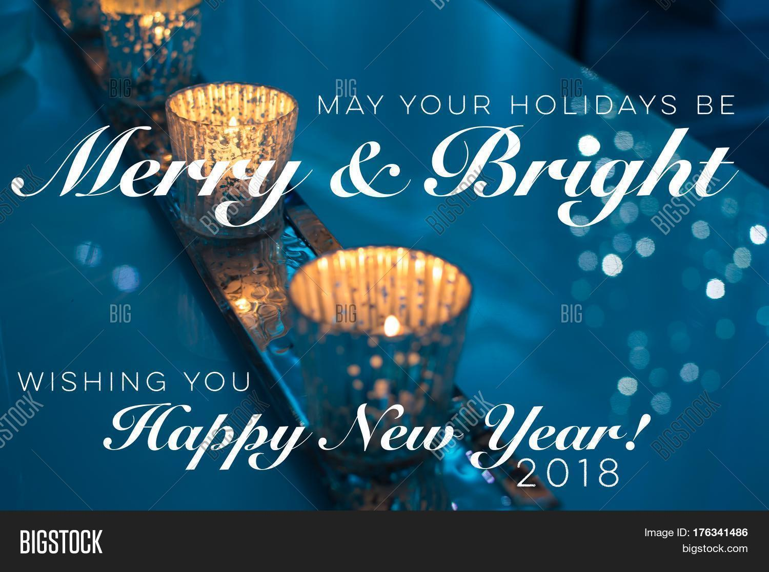 Holiday greeting card new years image photo bigstock holiday greeting card with new years wishes 2017 2018 non denominational with beautiful candles burning with kristyandbryce Images