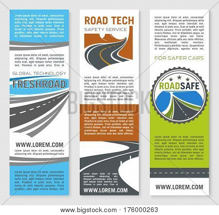 Road construction technology and service vector banner set for highway or motorways building company. Design for transport safety and cars or vehicles traffic reliability