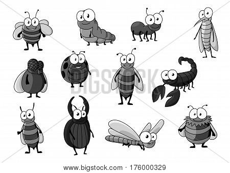 Bugs and insects vector icons. Cartoon set of bee or bumblebee, butterfly and caterpillar, beetle or fly moth and ant, dragonfly and hornet or wasp, scorpion and ladybug or ladybird character