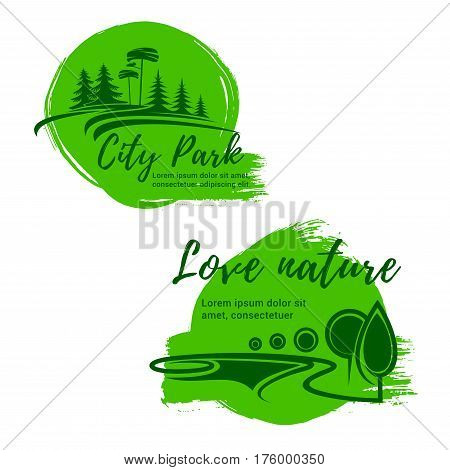 Nature ecology vector icons of city park and green environment. Emblems of ecology, trees or forest and green city or urban outdoor eco village. Horticulture landscape design or planting and gardening