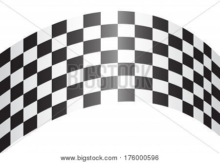 Checkered curve on white design for race background vector illustration.