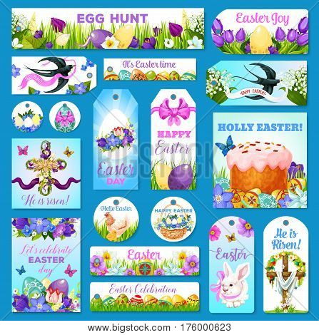 Easter greeting cards, banners and tags. Paschal design of eggs and cake, holy cross crucifix and spring flowers or willow wreath bunch and swallows. Happy Easter vector templates for religion holiday