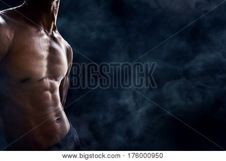 Muscular man pose body sixpack abdominal muscles