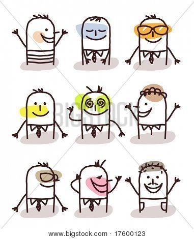 set of male avatars - good moods