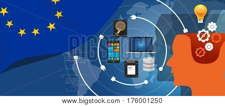 Europe IT information technology digital infrastructure connecting business data via internet network using computer software an electronic innovation vector