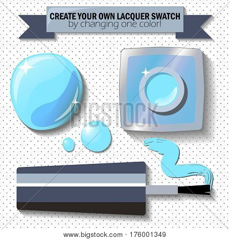 Nail lacquer color swatch vector illustration. Nail polish bottle brush and drop. Light blue enamel in realistic style. Open nail lacquer flat lay polka dot background. Woman manicure cosmetic set