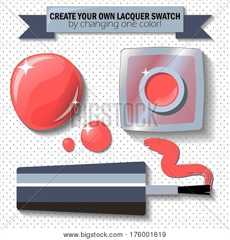 Nail lacquer color swatch vector illustration. Nail polish bottle brush and drop. Coral red enamel in realistic style. Red nail lacquer flat lay polka dot background. Female nail care cosmetic set