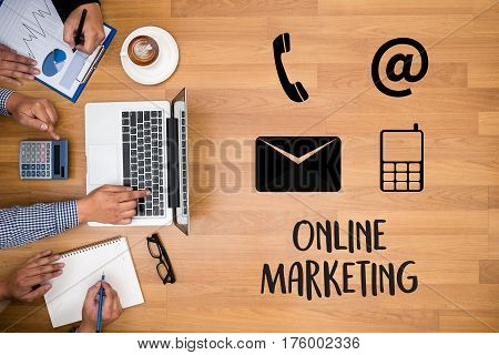 Online Advertising Man Working On Laptop , Online Website Marketing , Update Trends  Advertising , O