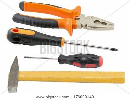 Screwdriver and other tools isolated on white background
