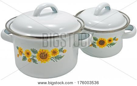 casserole dish or crock pot isolated on white