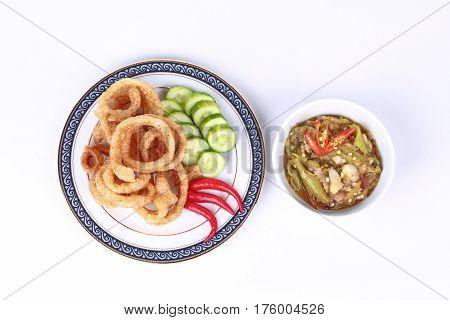 Green Chili Dip As  Nam Prik Num Served Side Dish.