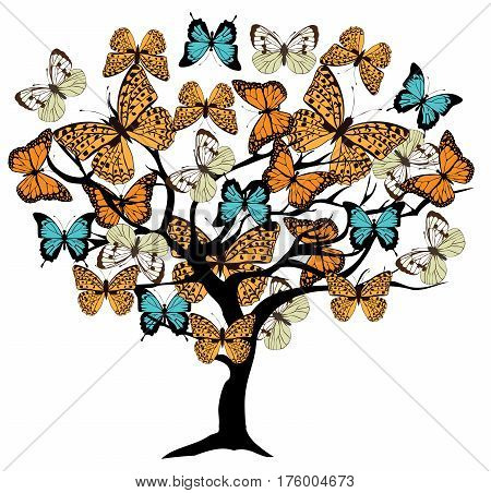 vector illustration of a tree with vintage butterflies