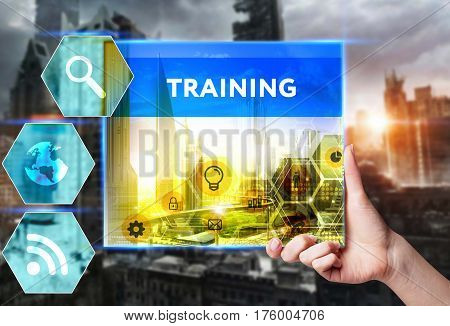 Technology, Internet, Business And Marketing. Young Business Woman Writing Word: Training