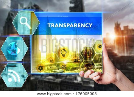 Technology, Internet, Business And Marketing. Young Business Woman Writing Word: Transparency