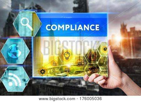 Technology, Internet, Business And Marketing. Young Business Woman Writing Word: Compliance