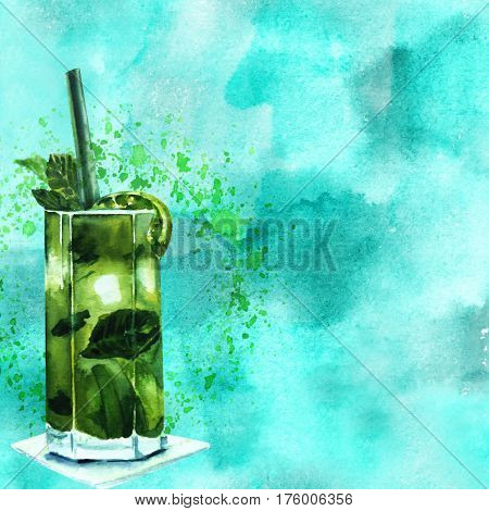 A watercolour drawing of a mojito cocktail with mint leaves, a wedge of lime, and a drinking straw, on a painted blue texture, with copy space