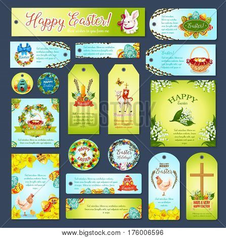 Easter greeting cards with paschal eggs, bunny and cake, spring flowers in wicker basket, crucifix passover lamb and swallows. Happy Easter vector tag cards, banners, design for religion holiday