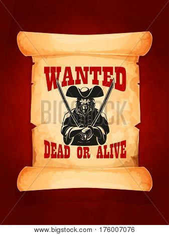 Wanted dead or alive western vector poster. Eloped bandit jailer, wanted cowboy or musketeer in tricorn hat armed with swords or sabers on old paper scroll. Robber capture reward sheriff announcement poster