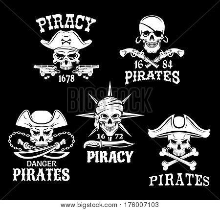Jolly Roger pirate vector icons of captain skull in tricorne hat and eyepatch. Piracy symbols of robber sailor or filibuster swords, sabers and pistol guns, ship anchor or compass and chains