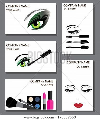 vector illustration of business cards set with make up concept