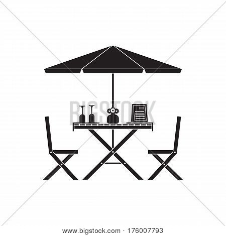 Outdoor romantic table and chairs under parasol with menu, wine bottle and glasses. Summer street cafe terrace silhouette.