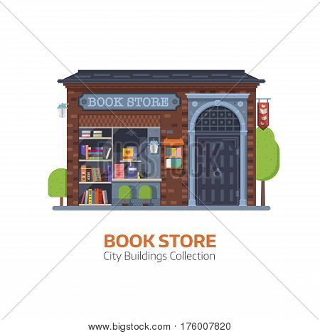 Old public book shop building facade in flat design. Authentic bookstore vector illustration. Classic Europe antiquarian bookshop exterior with book shelves and showcase.