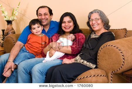 East Indian Family At Home