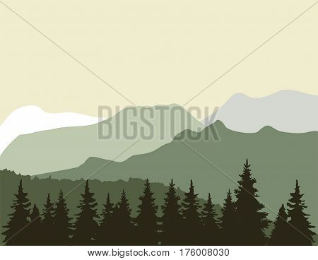 vector illustration of mountain and tree background