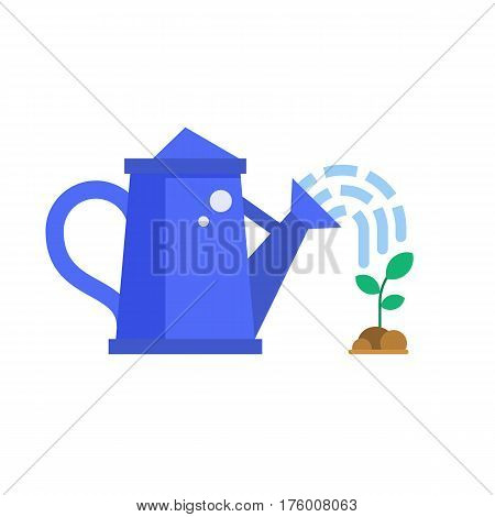 Blue watering can sprays water drops over the sprout. Spring irrigation vector illustration.