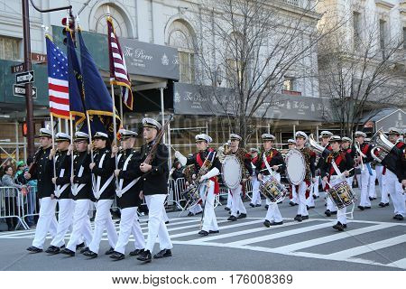 NEW YORK - MARCH 17, 2016: United States Merchant Marine Academy marching at the St. Patrick's Day Parade in New York.
