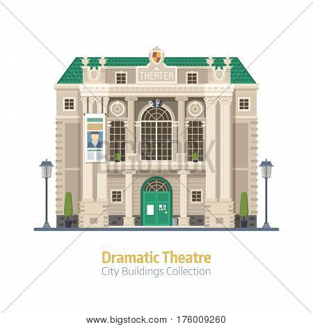 Dramatic theatre building isolated on white background. Music theater exterior vector illustration. City culture and entertainment landmark with historical monument facade.