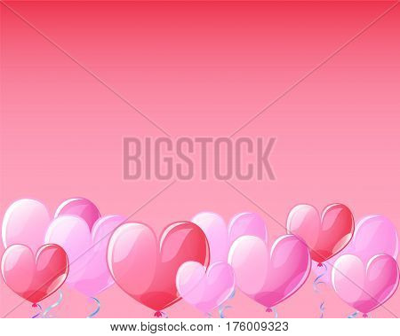 Heart air balloons on red banner background for St Valentine Day. Template for Valentines Day with text place. Pink heart balloons for Valentine day greeting. Pink red transparent hearts vector decor