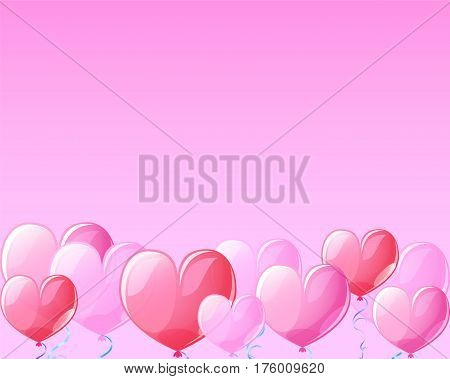 Heart air balloons on pink banner background for St Valentine Day. Valentine Day template with text place. Pink heart balloons for Valentine day greeting. Pink red transparent hearts vector decor