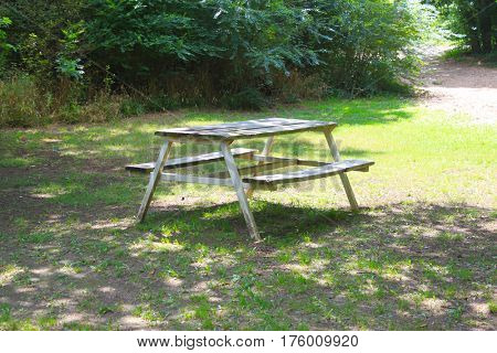 Picnic table in a camping park