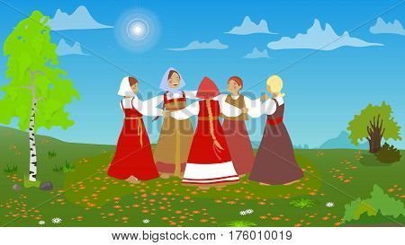 Russian girls in traditional clothes dance in the meadow. A set of cartoon characters. Summer, round dance. National traditions, history, legends and epic. Thematic collection for design. Vector EPS10