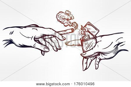 God and Adams hands holding a weed joint or spliff or tabacco cigarette and a lighter. Drug consumption, marijuana use clip art. Concept design. Elegant tattoo artwork. Isolated vector illustration.