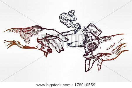 Tattooed human hands holding a weed joint or spliff or tabacco cigarette and a lighter. Drug consumption, marijuana use clip art. Concept design. Elegant tattoo artwork. Isolated vector illustration.