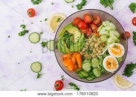 Diet Menu. Healthy Lifestyle. Bulgur Porridge, Egg And Fresh Vegetables - Tomatoes, Cucumber, Celery