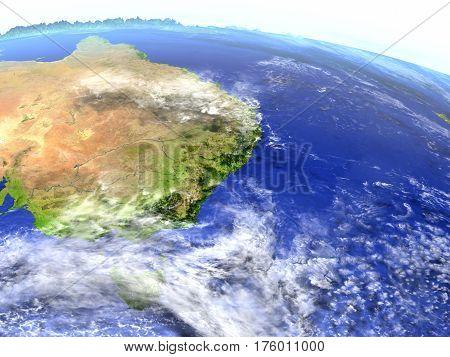 East Coast Of Australia On Realistic Model Of Earth