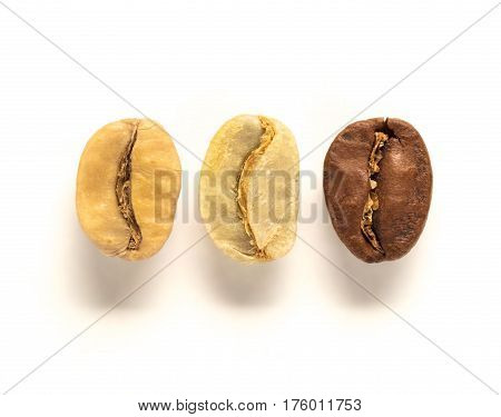 Mix of white left , green center and brown right coffee bean on white background. Top view or flat lay. Extreme close up. Image with natural colors