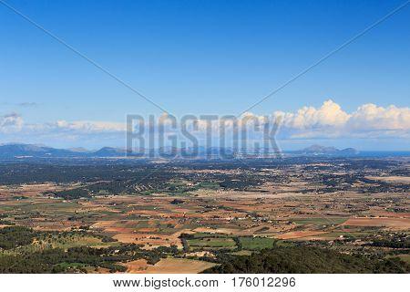 Port De Pollenca Panorama, Serra De Tramuntana Mountains And Mediterranean Sea, Majorca, Spain
