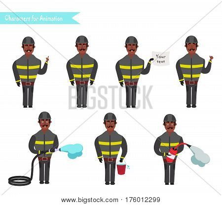 Set for animation of African American firefighters in uniform protective suit with axe cartoon vector illustration isolated on white background. Young firefighter fireman set. Parts of body template for animation.