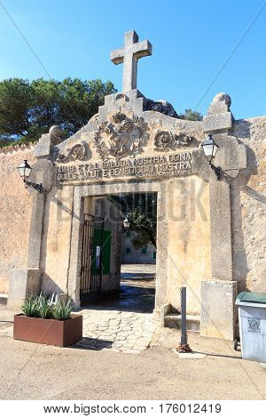 Monastery Santuari De Cura Entrance Gate On Puig De Randa, Majorca, Spain