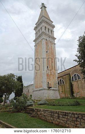 ROVINJ CROATIA - OCTOBER 15: Bell Tower of St. Euphemia Cathedral in Rovinj on OCTOBER 15 2014. Church Tower Landmark in Rovinj Croatia.