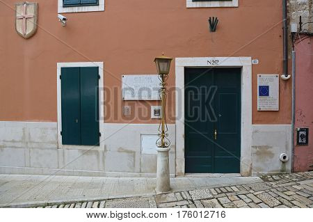 ROVINJ CROATIA - OCTOBER 15: Historical Research Center Italian Union in Rovinj on OCTOBER 15 2014. Council of Europe and Depositary Library Government Building in Rovinj Croatia.