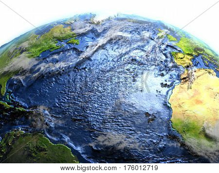 Atlantic Ocean On Earth - Visible Ocean Floor