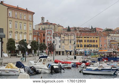 ROVINJ CROATIA - OCTOBER 15: Picturesque Town With Marina in Rovinj on OCTOBER 15 2014. Colorful Houses at Port in Rovinj Croatia.